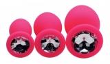 Anal Plug 3er Set Silikon mit Schmuckstein Pink