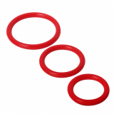 Cock Rings Silicone 3-Pieces red