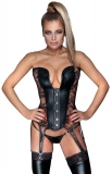 Corset w. 6 Garters Wetlook & Lace