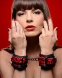 Kunstleder Handfesseln mit Prägung bicolor