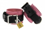 Leather Wrist Cuffs Deluxe pink-black lockable