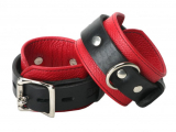 Leather Wrist Cuffs Deluxe red-black lockable