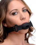 Mouth Gag hollow Silicone w. PU-Leather Strap