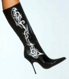 Boots Stiletto Heel Dragon with Tribal 4.5 Heel US 7